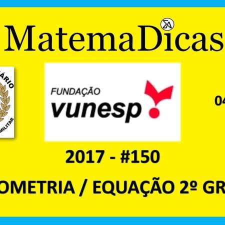 Vunesp 2017 Tribunal de Justiça Militar TJM Matemática geometria equação do 2º grau