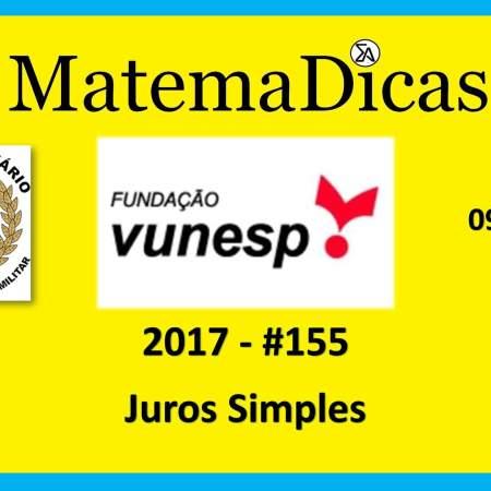 Vunesp 2017 Tribunal de Justiça Militar TJM Matemática juros simples