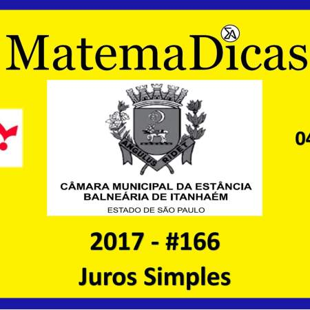 juros simples vunesp 2018 resolução de exercícios e questões de provas concursos e vestibulares câmara municipal estância balneária de itanhaém