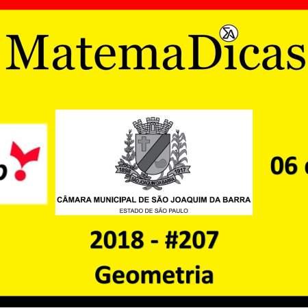 Geometria Vunesp 2018 resolução de exercícios e questões de provas concursos e vestibulares câmara municipal são joaquim da barra