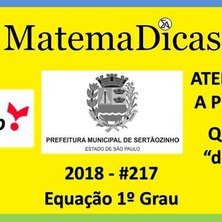 equação do 1º grau vunesp 2018 prefeitura municipal de sertãozinho