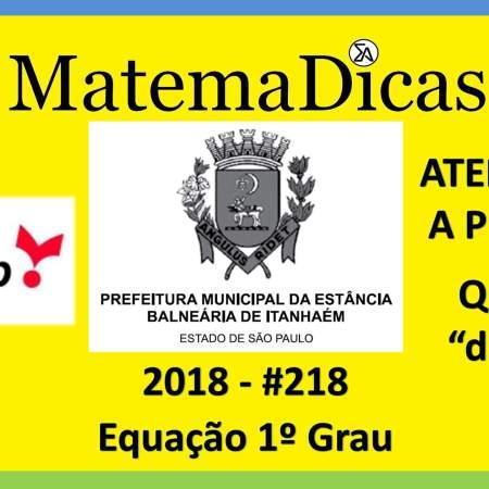 concurso para prefeitura de itanhaém vunesp 2018 equação do1º grau