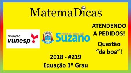 equação do 1º grau concurso prefeitura de suzano vunesp 2018