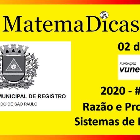 Razão e Proporção (02 de 10) – Prefeitura Registro – Vunesp 2018 – #0282 – Matemática