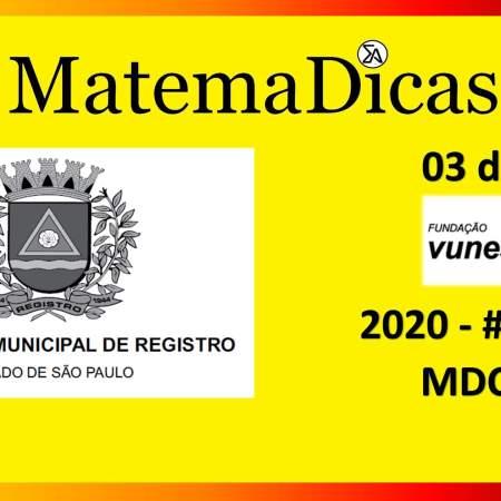 MDC (03 de 10) – Prefeitura Registro – Vunesp 2018 – #0283 – Matemática