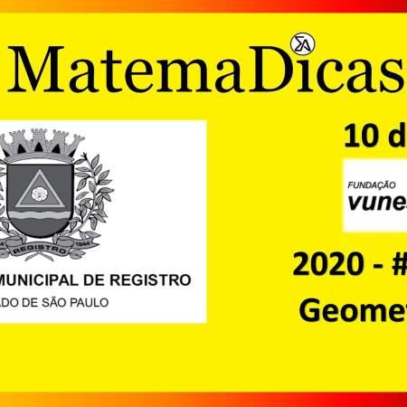 Geometria (10 de 10) – Prefeitura Registro – Vunesp 2018 – #0290 – Matemática