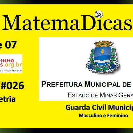 Geometria (03 de 07) – Guarda Civil Municipal - Prefeitura Guaxupé – Instituto Mais (2018) – #026 – Matemática