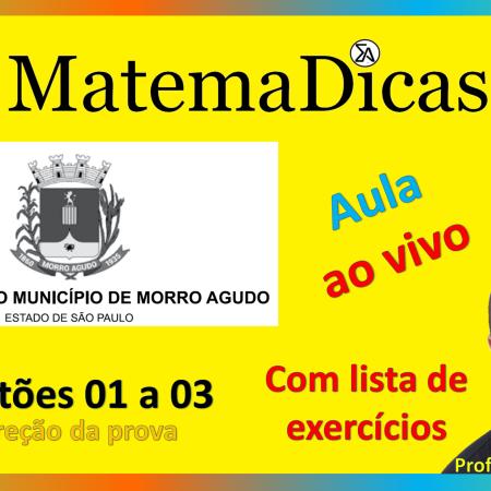 Live #016 - 06/10/2020 - Correção da prova - Prefeitura de Morro Agudo - Questões 01 a 03