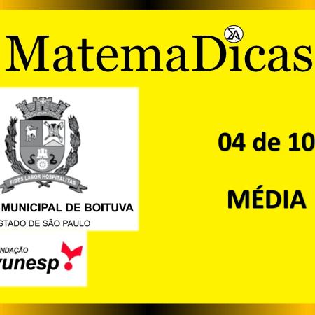 Média (04 de 10) – Câmara de Boituva – Vunesp 2020 – #0304 – Matemática