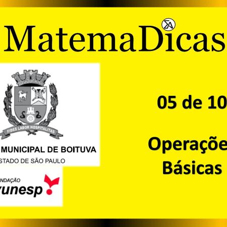 Operações Básicas (05 de 10) – Câmara de Boituva – Vunesp 2020 – #0305 – Matemática