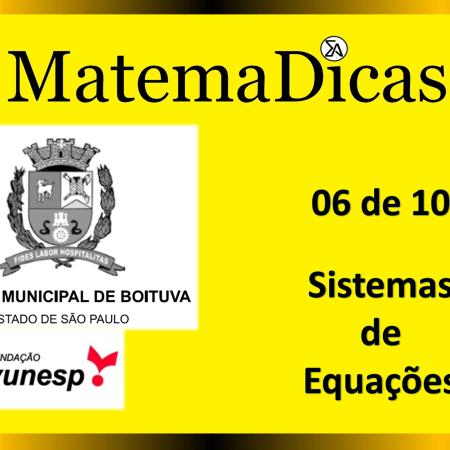 Sistema de Equações (06 de 10) – Câmara de Boituva – Vunesp 2020 – #0306 – Matemática