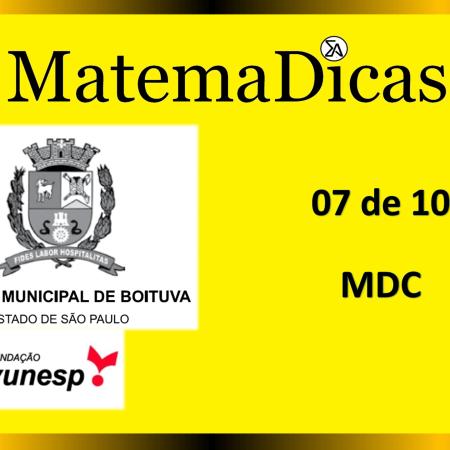MDC (07 de 10) – Câmara de Boituva – Vunesp 2020 – #0307 – Matemática