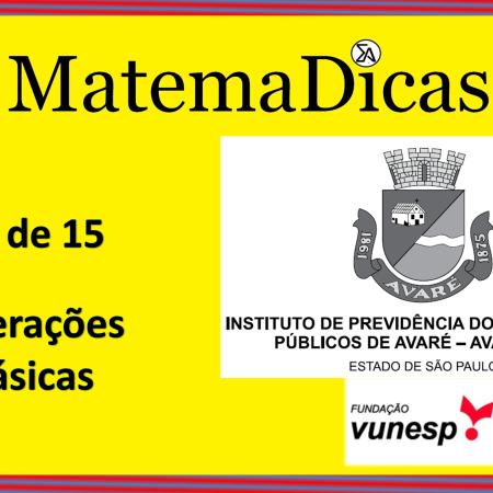 Operações Básicas (10 de 15) – AVAREPREV – Vunesp 2020 – #0320 – Matemática