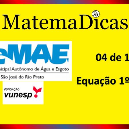 Equação 1º Grau (04 de 10) – SEMAE - São José do Rio Preto – Vunesp 2020 – #0339 – Matemática